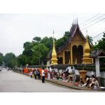 Monks on alm at the Wat Sen LuangPrabang Laos